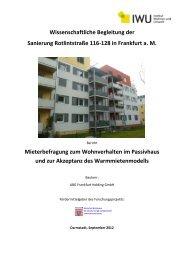 Teilbericht Mieterbefragung zum Wohnverhalten und der ... - IWU