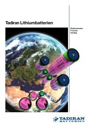 Tadiran Lithiumbatterien - D+C-Airparts Battery in Europe Gmbh
