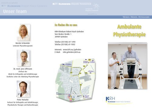 Infoflyer Physiotherapie - Klinikum Region Hannover GmbH
