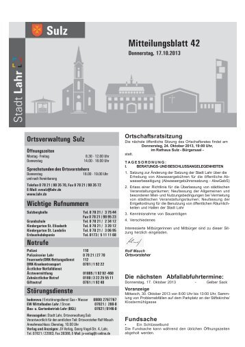 Mitteilungsblatt Sulz 42 / 2013 (application/pdf) - Stadt Lahr