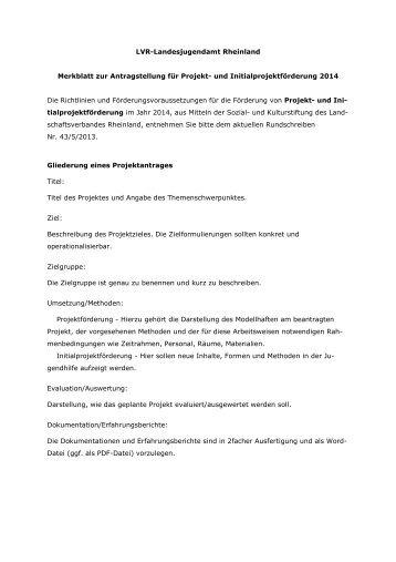 Merkblatt zur Antragstellung für Einzelprojekte 2014
