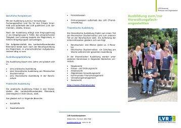 Flyer Verwaltungsfachangestellte - Landschaftsverband Rheinland