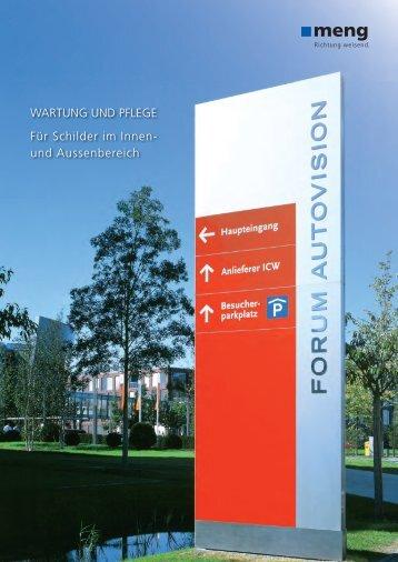 WARTUNG UND PFLEGE Für Schilder im Innen - Meng ...