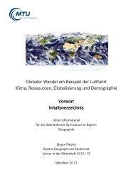 Globaler Wandel am Beispiel der Luftfahrt Klima, Ressourcen ...