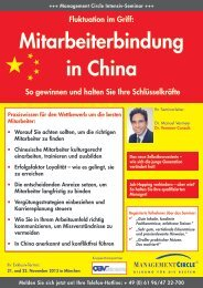 Seminar: Mitarbeiterbindung in China - Management Circle AG