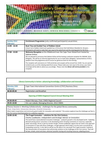 Download the Full Programme Click here - OCLC
