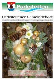 Gemeindebote Dezember 2013 - Gemeinde Parkstetten