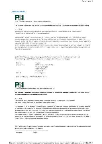 HgCapital 5 General Partner (Guernsey) - P&I Personal & Informatik ...