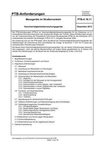 PTB-A 18.11 Geschwindigkeitsüberwachungsgeräte - Physikalisch ...
