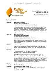 Themenvorschau KW 16/2013 15.04.2013 - 19.04.2013 Moderation ...