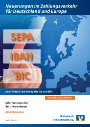 Basis-Information SEPA - Volksbank Schnathorst eG