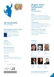Wagner Voice Symposium 2013 20.–22.06.2013