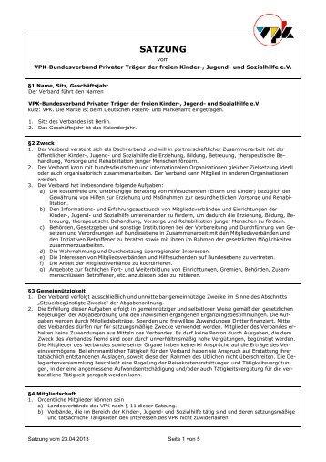 Die Satzung in der Fassung vom 23.04.2013 kann hier als PDF ...
