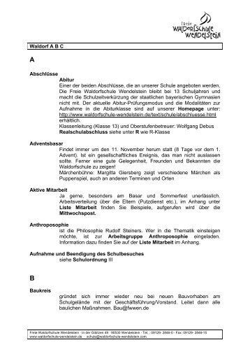 Waldorf-ABC - Freie Waldorfschule Wendelstein