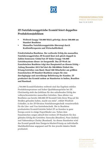 ZF-Nutzfahrzeuggetriebe Ecomid feiert doppeltes Produktionsjubiläum