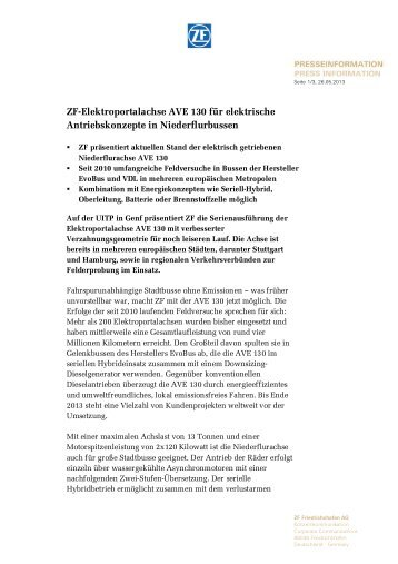 ZF-Elektroportalachse AVE 130 für elektrische Antriebskonzepte in ...
