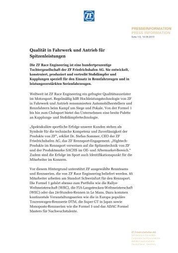 Qualität in Fahrwerk und Antrieb für Spitzenleistungen - ZF ...