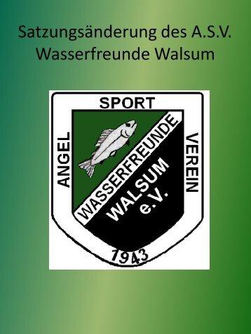 Die Satzung des ASV Wasserfreunde Walsum