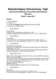 Bestandsrückgang / Artenverarmung - Bundesamt für Naturschutz