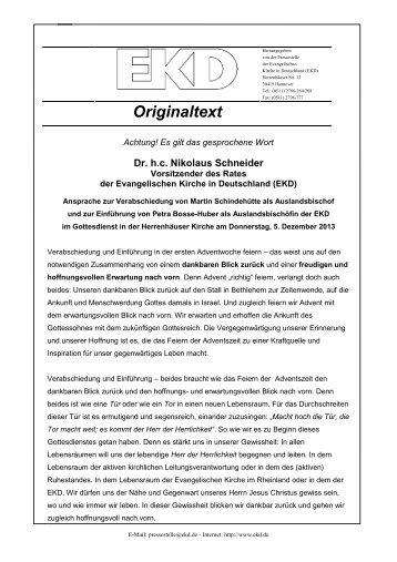 Die Ansprache im Wortlaut - Evangelische Kirche in Deutschland