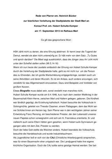 Laudatio von Pfarrer em. Heinrich Bücker - Marl