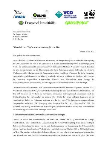 Offener Brief zur CO2-Grenzwertverodnung für neue Pkw ... - Bund