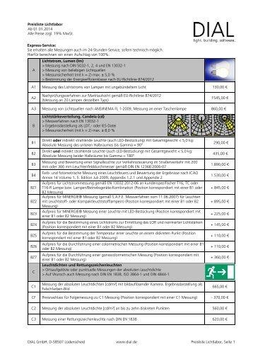 aktuellen Preisliste - DIAL GmbH