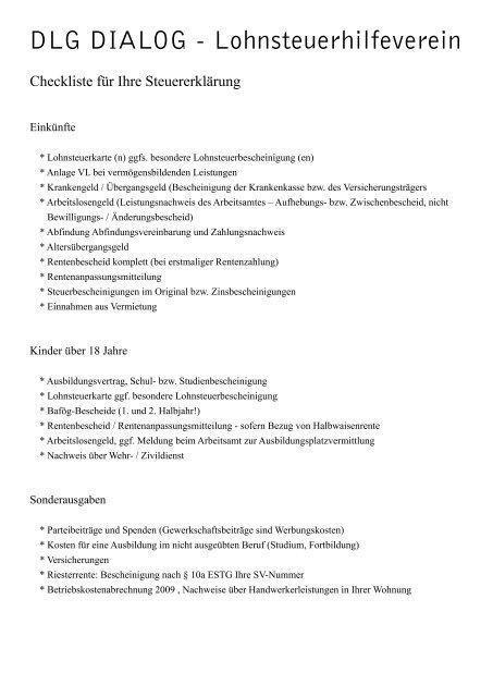 Dlg Checkliste Pdf Dlg Lohnsteuerhilfeverein