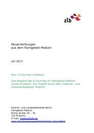 Neuerwerbungen aus dem Fachgebiet Medizin. Juli 2013