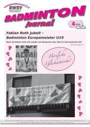 Heft 04/2013 - Baden - Württembergischer Badminton - Verband