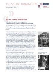 90 Jahre Rundfunk in Deutschland - Deutsches Rundfunkarchiv
