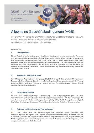 Allgemeine Geschäftsbedingungen (AGB) - DSAG