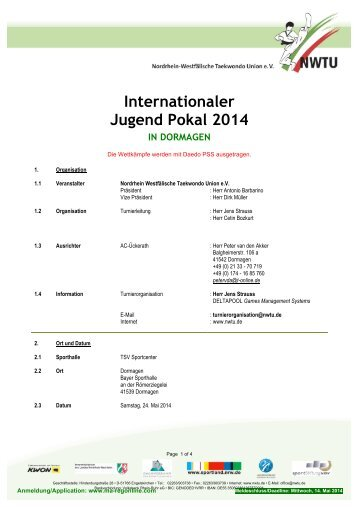 Internationaler Jugend Pokal 2014 - Deutsche Taekwondo Union