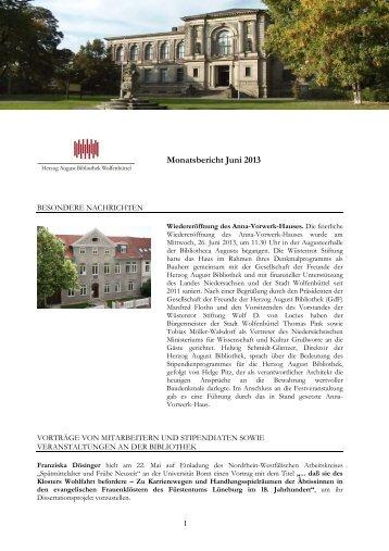Monatsbericht Juni 2013 - Herzog August Bibliothek Wolfenbüttel