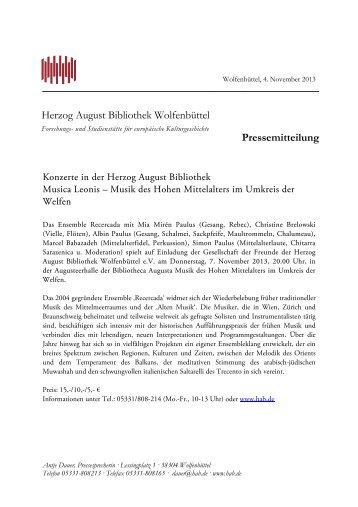 Herzog August Bibliothek Wolfenbüttel Pressemitteilung