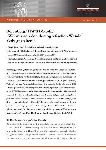 Pressemitteilung der Berenberg Bank zur Studie vom 30 ... - HWWI