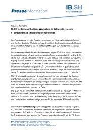 IB.SH fördert nachhaltiges Wachstum in Schleswig-Holstein