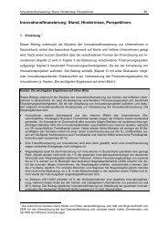 Innovationsfinanzierung: Stand, Hindernisse, Perspektiven. - KfW