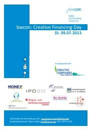 bwcon: Creative Financing Day - MBG