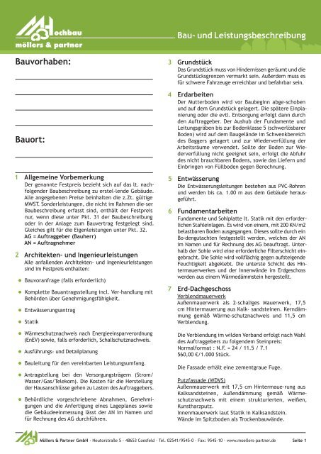 Vorlage Baubeschreibung Ohne Keller Möllers Partner