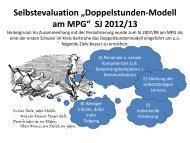 Selbstevaluation im Schuljahr 2012/13
