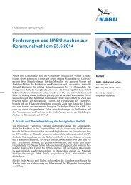Forderungen des NABU Aachen zur Kommunalwahl am 25.5.2014