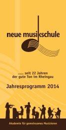 Jahres-Programm 2014 - der Neuen Musikschule eV im Rheingau
