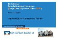 SEPA-Vortrag vom 17.06.2013 - Raiffeisenbank Stauden eG