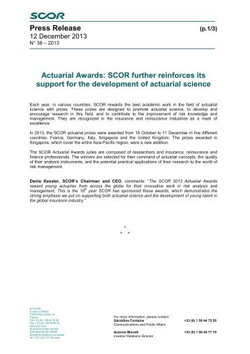 Press Release Actuarial Awards: SCOR further reinforces its support ...