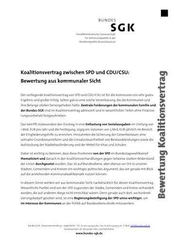 Bewertung der Bundes SGK - SPD