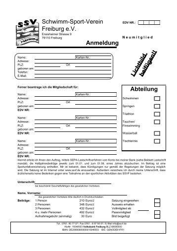 Lichtbildbeifügen!! Anmeldung Lichtbildbeifügen ... - SSV Freiburg