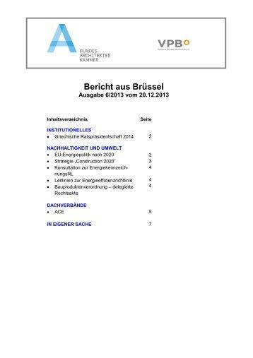 Bericht aus Brüssel 6/2013 - SRL
