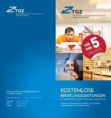 TGZ-Flyer Beratungsleistungen.indd - TGZ e.V. Schwerin / Wismar