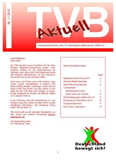 1/2013 - TV Alpenglühn Balkhausen 1900 e.V.